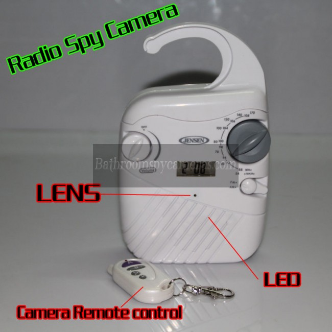 Buy Radio Camera Waterproof Hidden Spy HD 1080P DVR 32GB Motion Activated And Remote Control at Shower Radio Camera,Bathroom Spy Camera professional shop